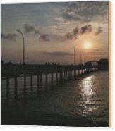 Fairhope Pier At Dusk Wood Print