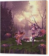 Fairies At A Pond Wood Print