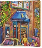 Fairmount Bagel Fairmount Street Montreal Wood Print