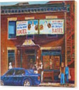 Fairmount Bagel With Blue Car  Wood Print