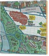 Fairmount Neighborhood Map Wood Print
