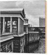 Fairmount Water Works In Black And White Wood Print