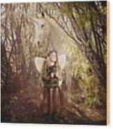 Fairy And Unicorn Wood Print by Cindy Singleton