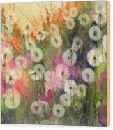 Fairy Dandelions Fields Wood Print