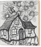 Fairy House, Bee, And Dogwood Wood Print