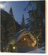 Fairy House In The Forest Moonlit Winter Night Wood Print
