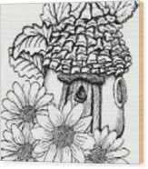 Fairy House With Pine Cone Roof And Daisies Wood Print