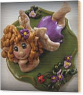 Fairy In Purple Wood Print by Trina Prenzi