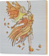 Fall Fairy Wood Print