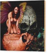 Fairy Lites On Skull Wood Print