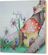 Fairy Mushrooms Wood Print
