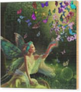 Fairy Of The Butterflies Wood Print