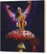 Fairy On Mushroom Wood Print