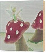Fairy On Mushroom Trees Wood Print