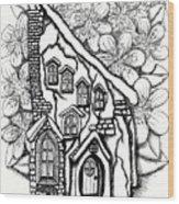 Fairy Stucco House With Flowers Wood Print