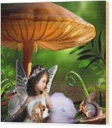 Fairy Woodland Wood Print by Julie L Hoddinott