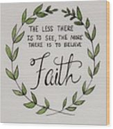 Faith Laurel Wreath Wood Print