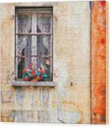 Fake Flowers On Window Wood Print