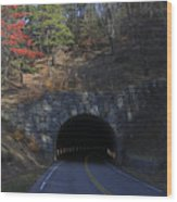 Fall At Bluff Mountain Tunnel Wood Print