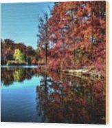 Fall At The Crosspointe Lake Wood Print