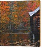 Fall Barn And River N Leverett Ma Wood Print