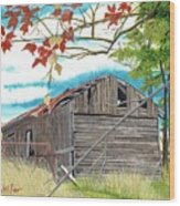 Fall Barn Wood Print