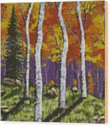 Fall Birch Trees Painting Wood Print