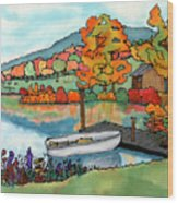 Fall Boat And Dock Wood Print