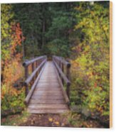 Fall Bridge Wood Print
