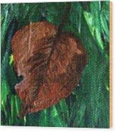 Fall Brown Leaf Wood Print