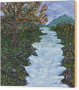 Fall By The River Wood Print