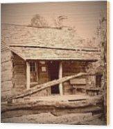 Fall Cabin Wood Print