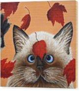 Fall Cat Wood Print