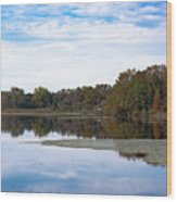 Fall Color On The Pond Wood Print