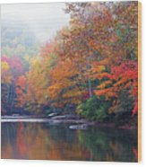 Fall Color Williams River Mirror Image Wood Print by Thomas R Fletcher