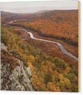 Fall Colors - Lake Of The Clouds Wood Print