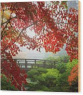 Fall Colors By The Moon Bridge Wood Print