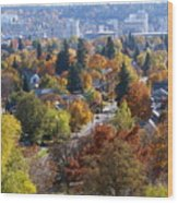 Fall Colors In Spokane From The Post Street Hill Wood Print