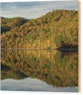 Fall Colors On Lake Reflection Wood Print