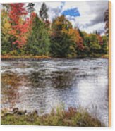 Fall Colors On The Moose River Wood Print