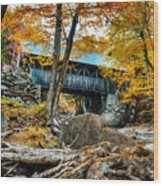 Fall Colors Over The Flume Gorge Covered Bridge Wood Print