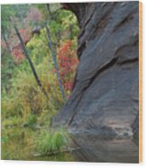 Fall Colors Peek Around Mountain Vertical Wood Print