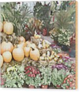Fall Decorating At The Market Wood Print