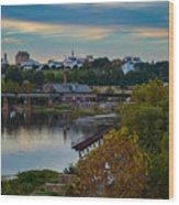 Fall Evening In Richmond Wood Print