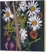 Fall Floral Collage Wood Print