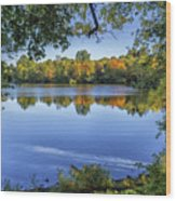 Fall Foliage At Turners Pond In Milton Massachusetts Wood Print