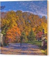 Fall Foliage Gated Estate Wood Print