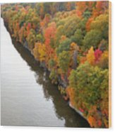 Fall Foliage In Hudson River 10 Wood Print