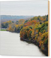 Fall Foliage In Hudson River 13 Wood Print