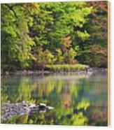 Fall Foliage Reflection Wood Print
